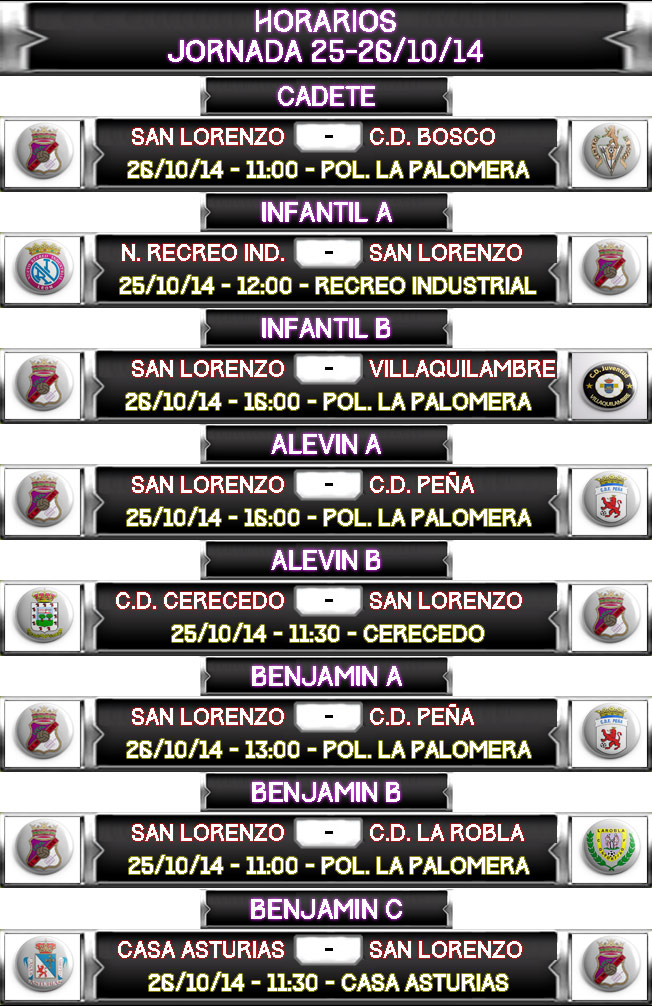 HORARIOS-JORNADA-25-26-10-2014