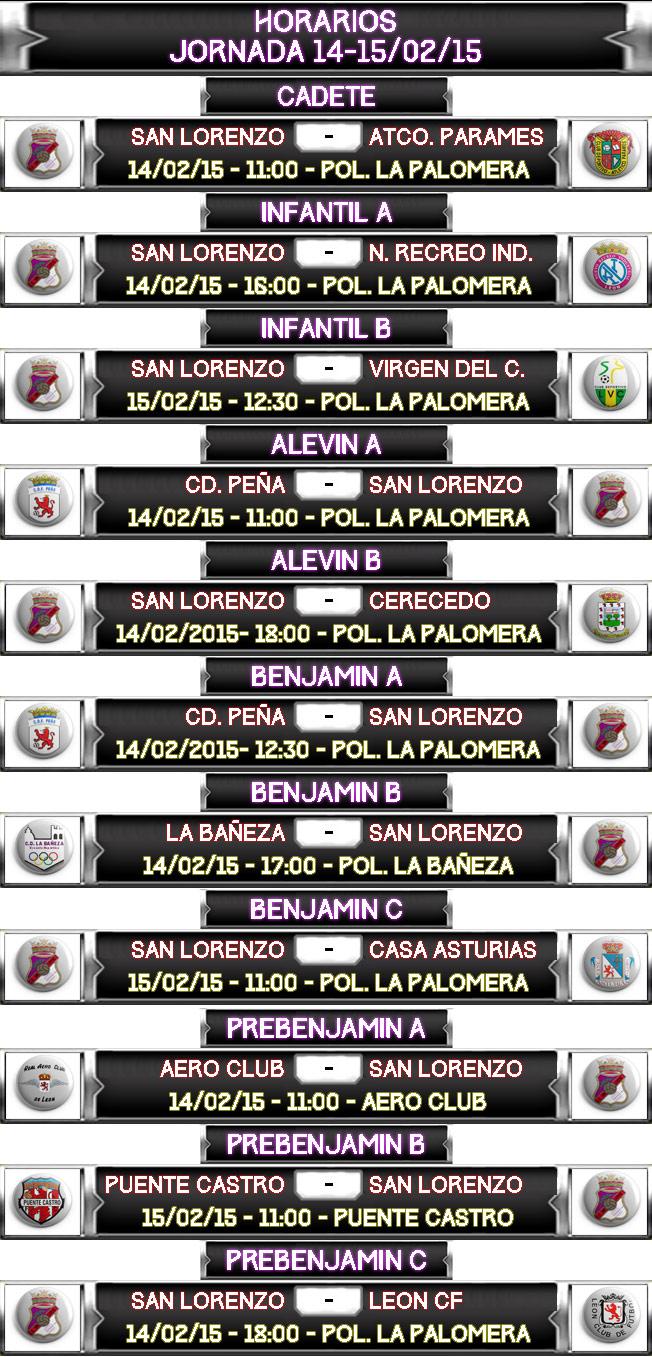 Horarios Jornada 14-15/02/2015