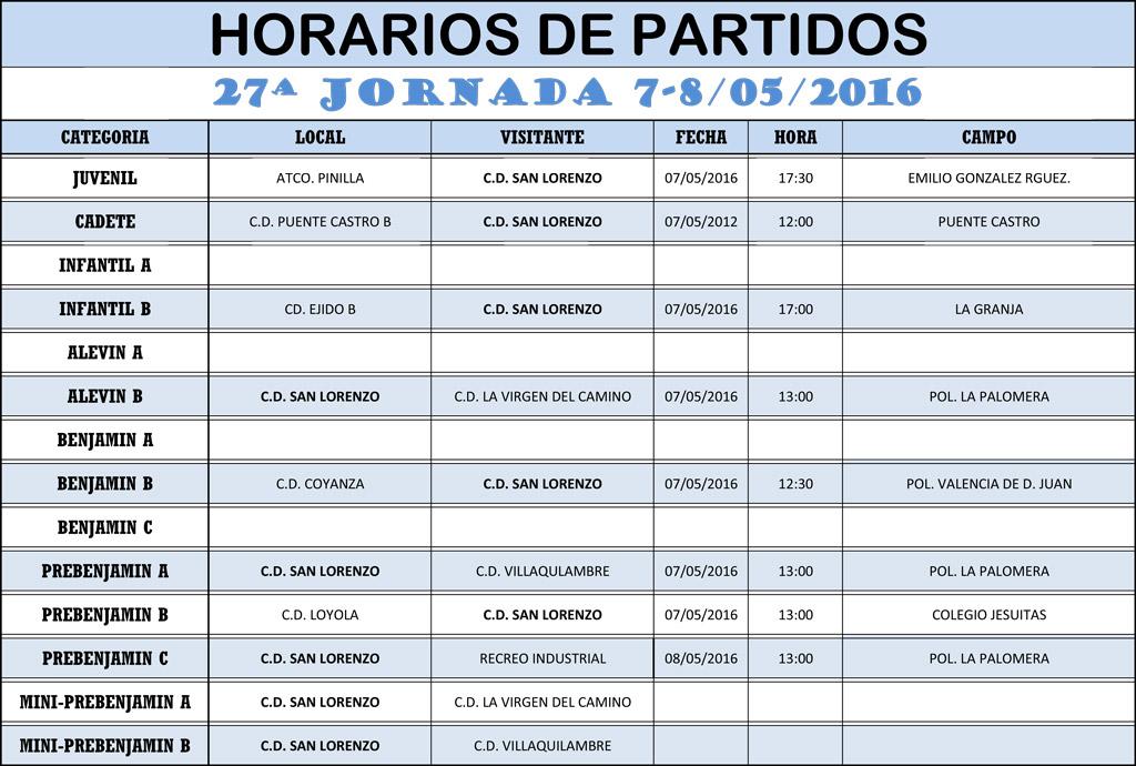 Horarios 27ª Jornada de Liga