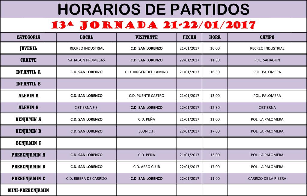 Horarios 13ª Jornada de Liga