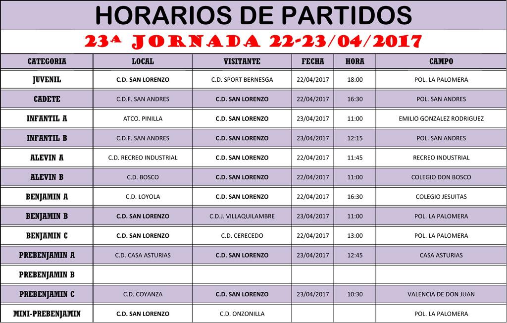 Horarios 23ª Jornada de Liga