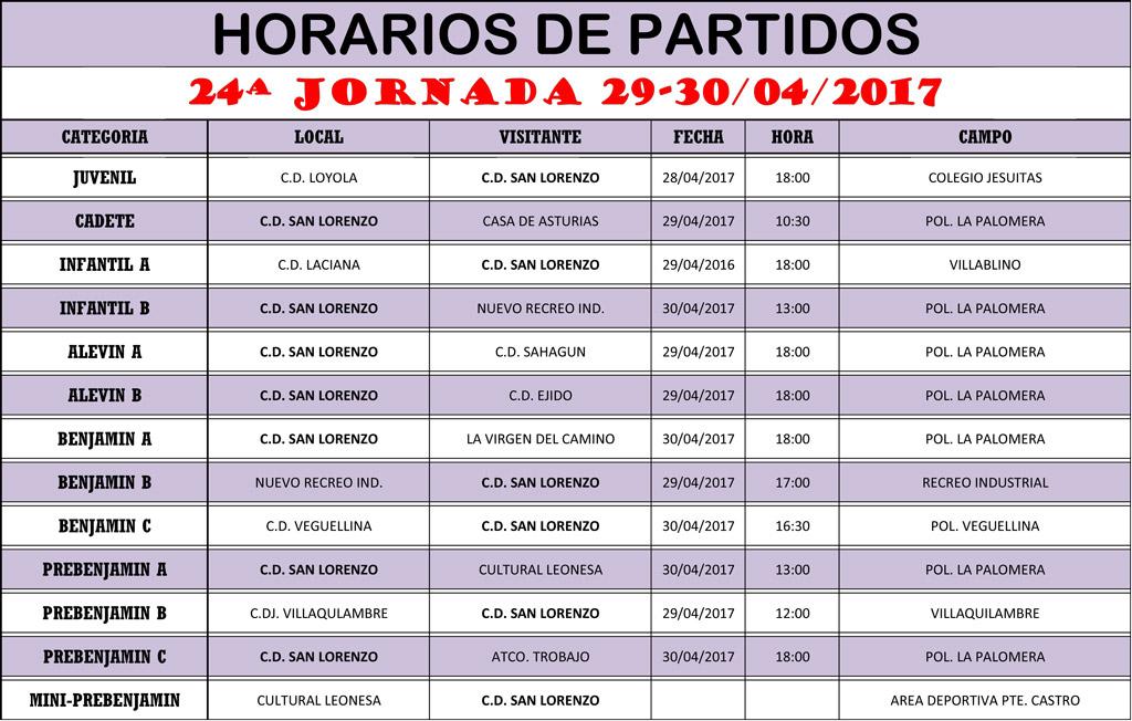 Horarios 24ª Jornada de Liga