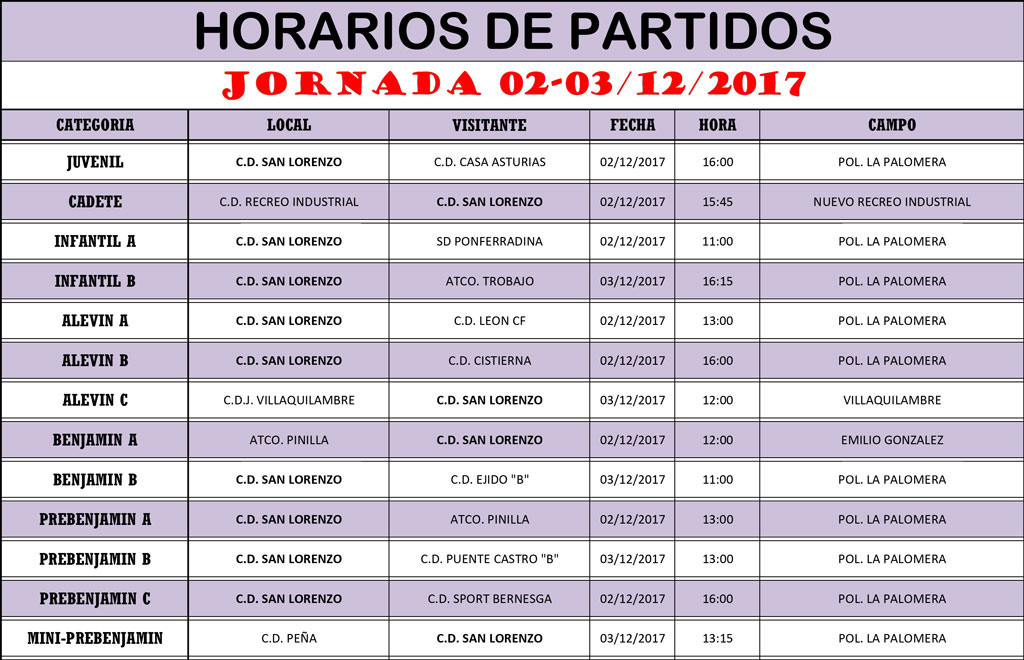 Horarios Jornada de Liga 02-03/12/17