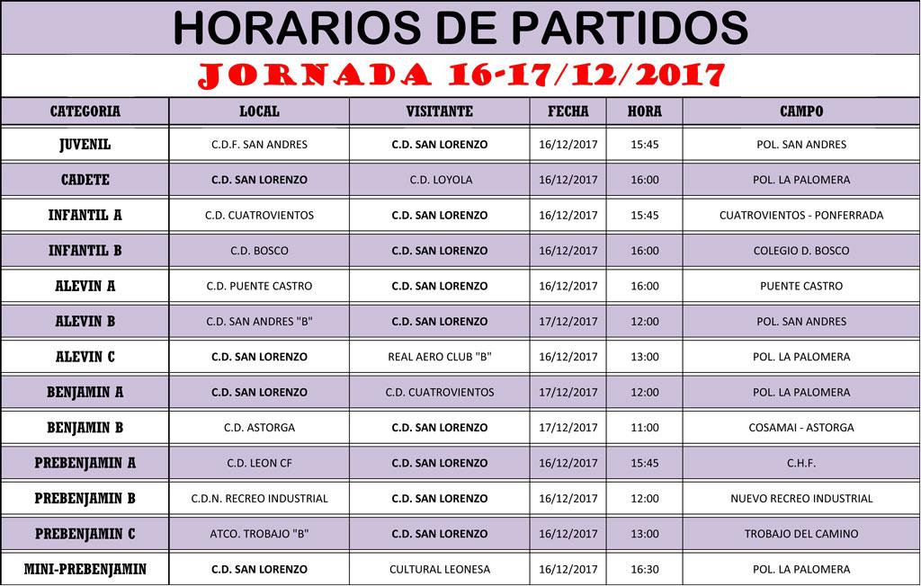 Horarios Jornada de Liga 16-17/12/17