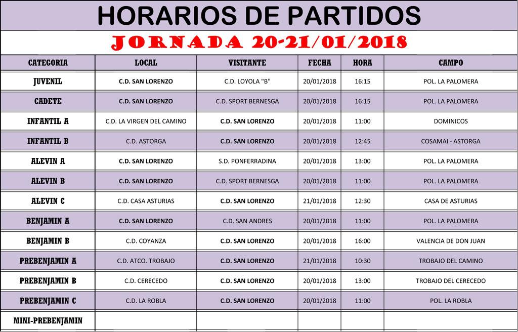 Horarios Jornada de Liga 20-21/01/18