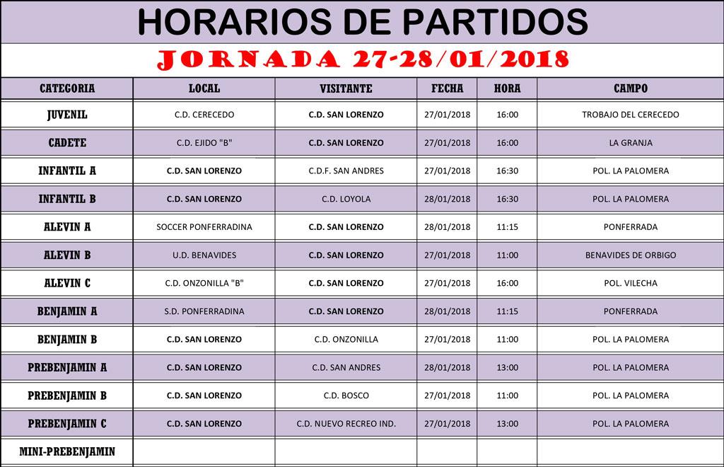 Horarios Jornada de Liga 27-28/01/18