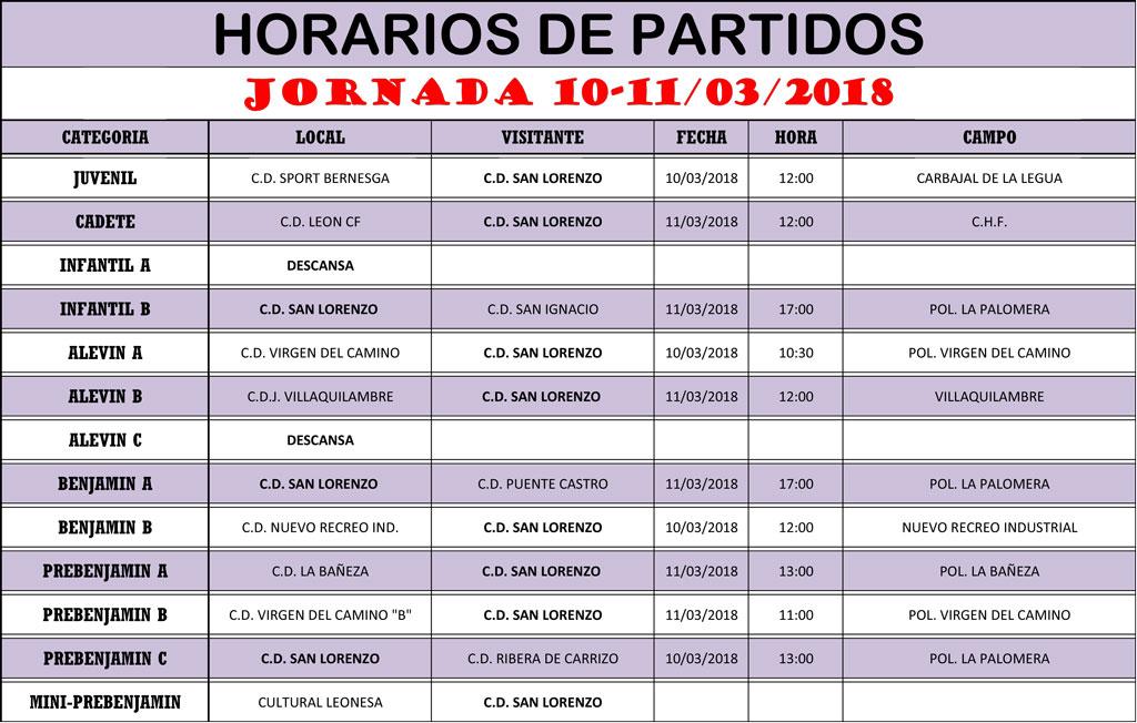 Horarios Jornada de Liga 10-11/03/18