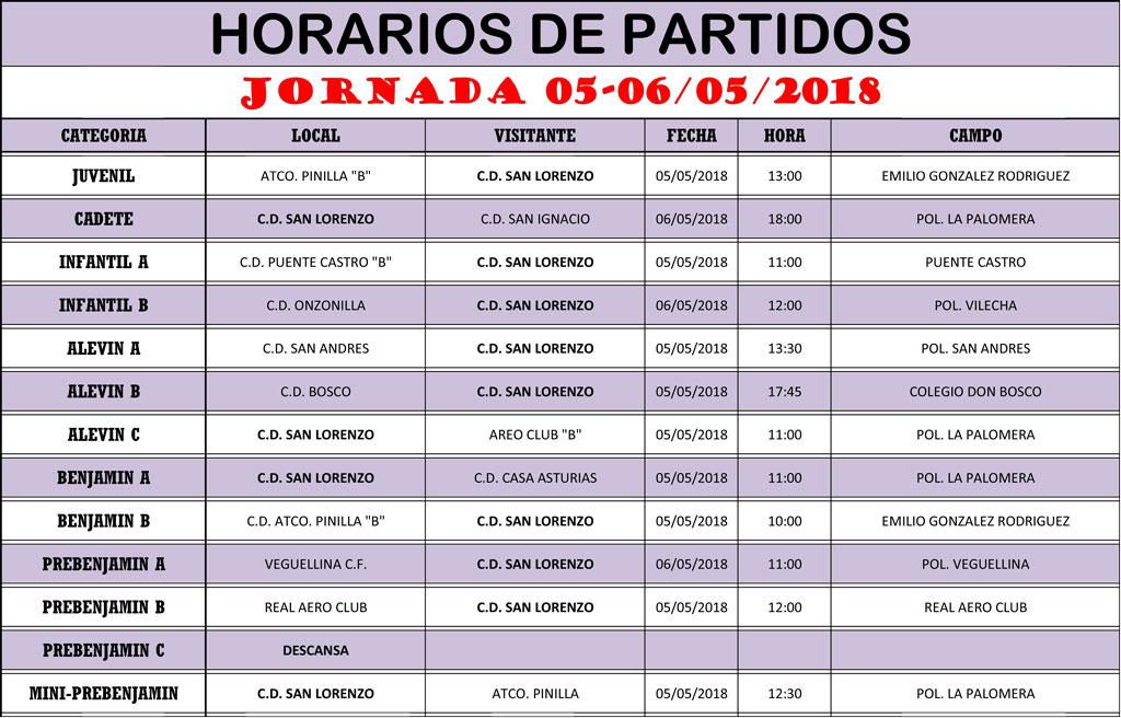 Horarios Jornada de Liga 05-06/05/18