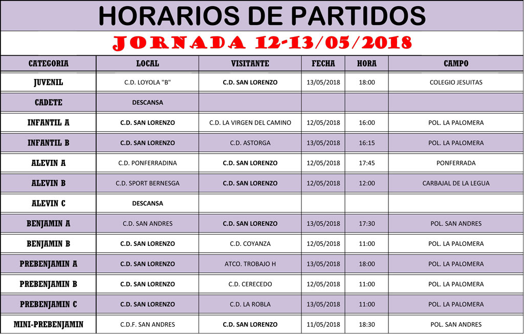 Horarios Jornada de Liga 12-13/05/18