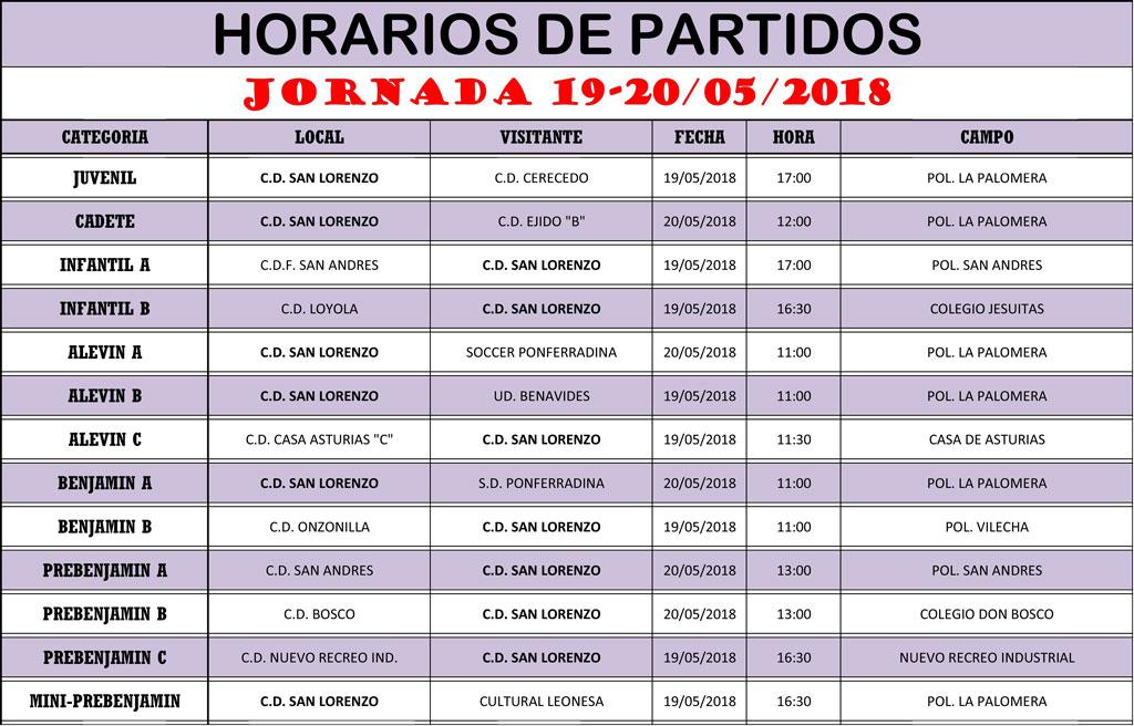 Horarios Jornada de Liga 19-20/05/18