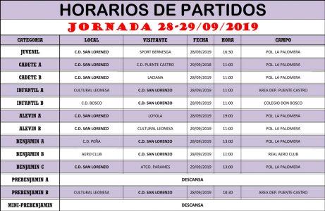 Horarios Jornada de Liga 28-29/09/19