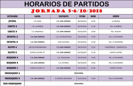 Horarios Jornada de Liga 05-06/10/19
