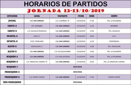 Horarios Jornada de Liga 12-13/10/19