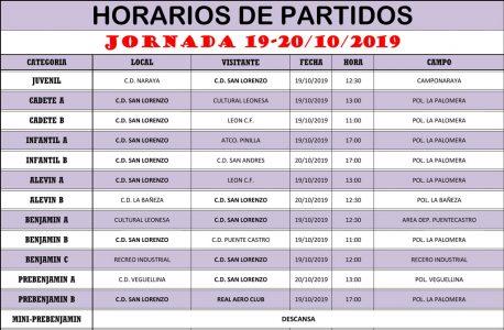 Horarios Jornada de Liga 19-20/10/19