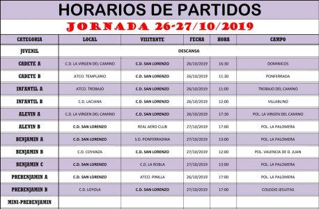 Horarios Jornada de Liga 26-27/10/19