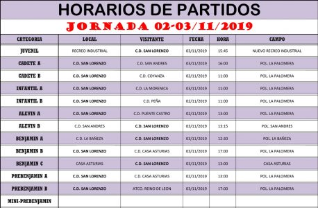 Horarios Jornada de Liga 02-03/11/19