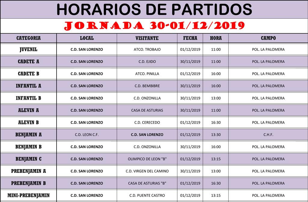 Horarios Jornada de Liga 30-01/12/19