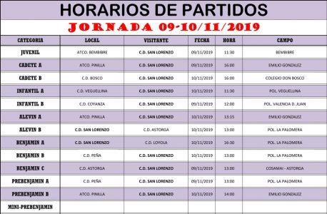 Horarios Jornada de Liga 09-10/11/19