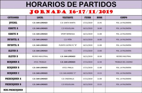 Horarios Jornada de Liga 16-17/11/19