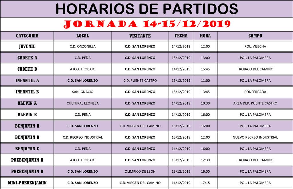 Horarios Jornada de Liga 14-15/12/19