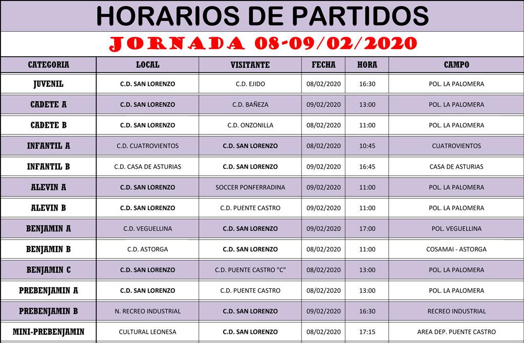Horarios Jornada de Liga 08-09/02/20