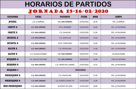 Horarios Jornada de Liga 15-16/02/20