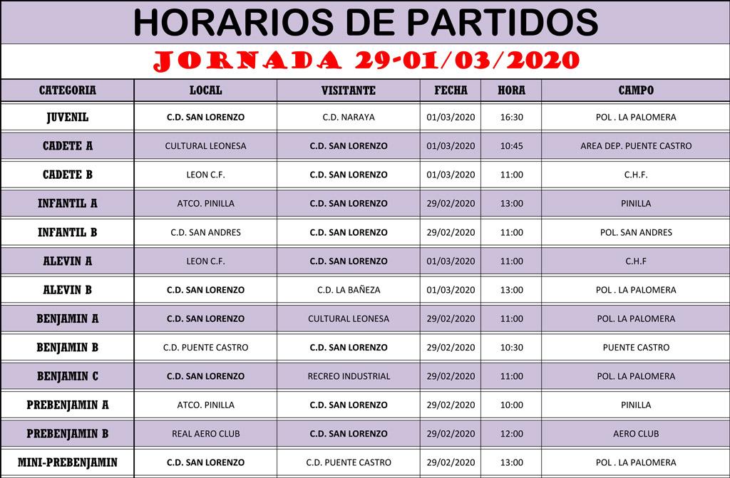 Horarios Jornada de Liga 29-01/03/20