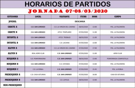 Horarios Jornada de Liga 07-08/03/20