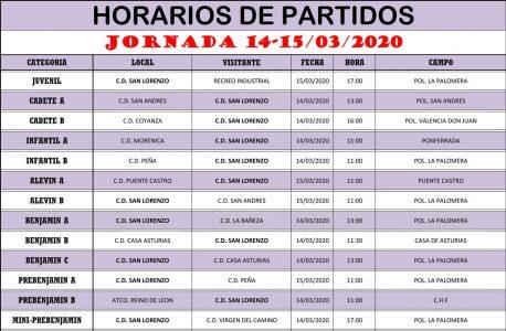 Horarios Jornada de Liga 14-15/03/20